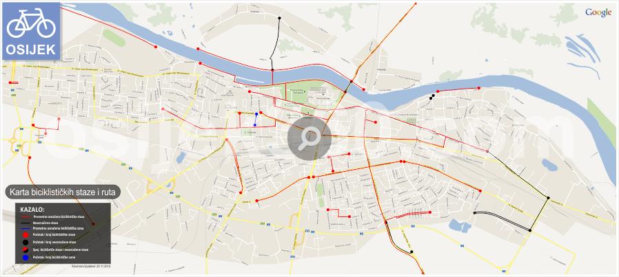 Karta biciklističkih staza i ruta u Osijeku
